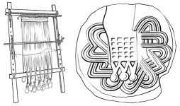 warp-weighted loom, drawing by M. Jagodzińska; cuboid seal from the Tholos Tomb A in Aghia Triada, after CMS II.1. 64 a drawing by M. Jagodzińska.